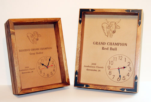 leather engraved clocks