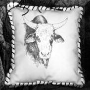 Engraved leather pillows